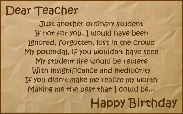Happy birthday wishes for teacher images quotes